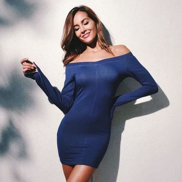CUPCUPLQ Women Simple Fashion Stitching Bodycon Off Shoulder Split Long Sleeve Solid Color Mini Dress
