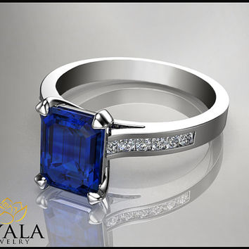 14K White Gold Blue Sapphire Ring ,Emerald Cut engagement ring,Promise Rings,Brial Ring,Solitaire Ring,anniversary ring,Free shipping.