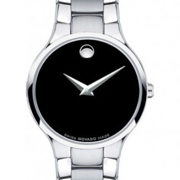 Movado Serio Ladies Black Museum Dial Stainless Steel 26mm Watch 0606383