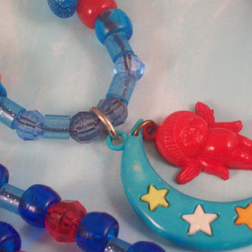 Blue and Red Plastic Beaded Necklace