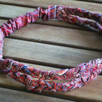 Double Strand Headband Braided Wrap Around in Reds and Blue