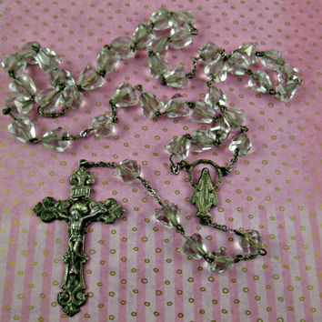 Vintage Rosary Sterling silver Beautiful Ornate Crucifix Cross Connector Multi-Faceted Cut Glass Beads 22 Inches 2 Inch Cross Lovely!