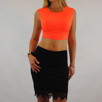 (amq) Side less sleeveless cropped neon orange top
