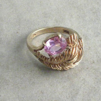 Vintage Pink Sapphire 10K Gold Ring Size 6 by Grasswidowvintage