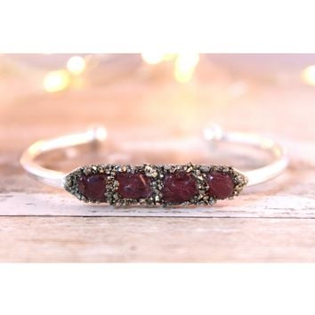 Raw Garnet January Birthstone Gemstone Bracelet