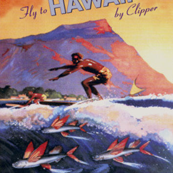 Pan American Clipper to Hawaii Surf Ad Fine Art Print