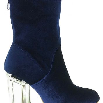 Ashley Stretchy Velvet Perspex Lucite Block Low Heel Ankle Bootie Boot Shoe Blue