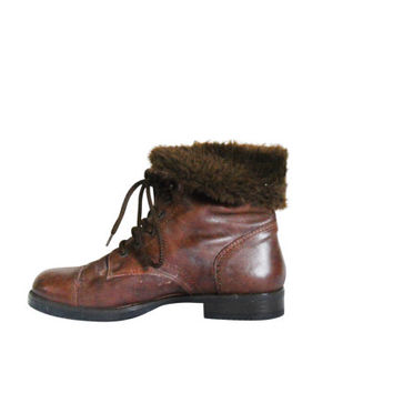 90s Boot Brown Ankle Boot Fur Boot Women Winter Boot Bohemian Boot Boho Boot Women Boot Women Ankle Boot Lace Up Ankle Boot Brown Leather