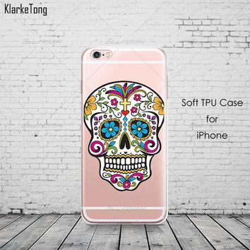 Floral Sugar Skull Case Cover For iphone 6 6S 7 7Plus Silicone Transparent Cell Phone Cases - skull 4, For iPhone 6 6S