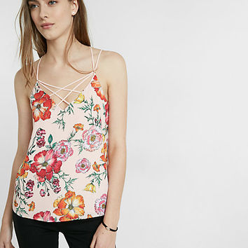 floral print strappy crisscross cami