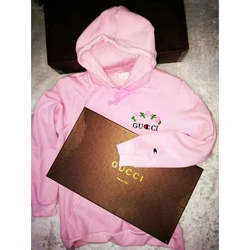 GUCCI & Champion Trending Unisex Stylish Rose Embroidery Long Sleeve Hoodie Pink Sweater Pullover Top Sweatshirt I/A