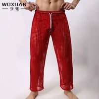 Men sexy mesh pants for men long pants sheer Breathable Men Sleep Bottoms Gashion Sexy Gay Wear see through pants casual