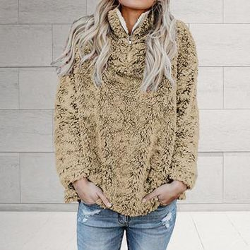 Women's Faux Fur Solid Color Sweater Hoodie (4 Colors)