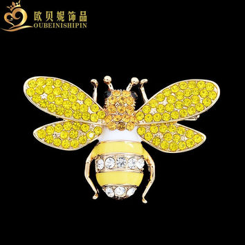 OBN 2017 Fashion Bling Broche Abeille Gold Insect Honey Bee brooch Rhinestone For Women Jewelry