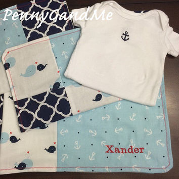 Personalized Baby Gift Set ~ Nautical Baby Gift Set ~ Anchor Baby Gift Set ~ Nautical Baby Blanket, 2 Burp Cloths, and Anchor One-piece