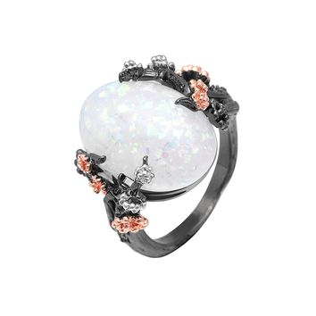 Beautiful Tree & Flower Ring Jewelry Black Gold Filled Romantic CZ Big White Fire Opal Rings for Women Dropshipping Bands Ring