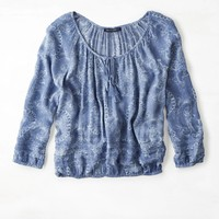 AEO Flowy Peasant Shirt, Blue | American Eagle Outfitters