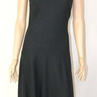 Banana Republic Dress size 4 s Fitted Black Wool Asymetrical Hem Sleeveless Tank