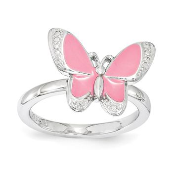 Sterling Silver & Pink Enamel Stackable 12mm Butterfly Ring
