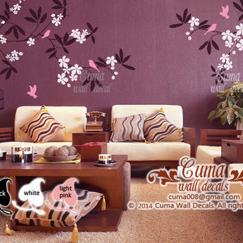 branch wall decal tree and birds Nursery wall decal pink cherry blossom wall decals kids decals office wall decal- tree and birds Z161 cuma