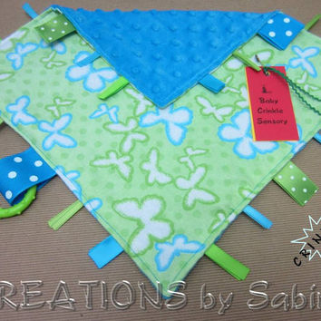Baby Crinkle Tag Blanket / Ribbon Sensory Toy / Blankie Lovie / blue green / butterfly butterflies/ insect critter / boy / READY TO SHIP 183