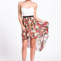 FALLING FLORAL HIGH LOW DRESS
