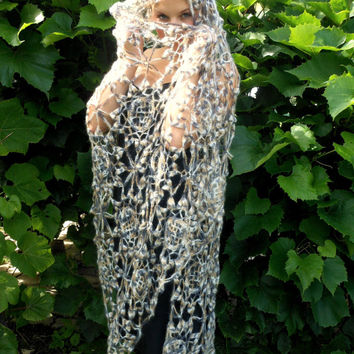 Lace Crochet Flower Rectangle Shawl Stole Wrap Neck Warmer Mohair Beige
