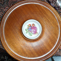 DISCOUNTED VINTAGE Wood Round Tray/Hand Made Turned Wood Bowl both made in Canada/Vintage Wood Table Service Bowl and Tray/Wood Lazy Susan