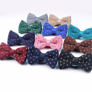 Men Neck Ties Tuxedo Knitted Bowtie Star Dot Bow Tie Thick Double Deck Pre Tied Adjustable Knitting Casual Ties