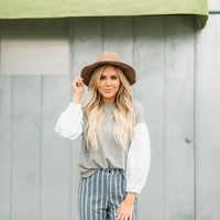 Grey & White Contrast Top