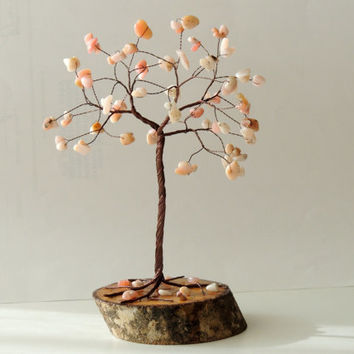 Pink Opal Wire tree,Wire tree of life,Gem tree,Gemstone tree,October Birthstone,beaded tree