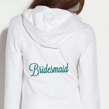 Bridesmaid Bridal Hoodie with Date Personalized Hooded Sweatshirt Embroidered