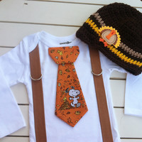 Baby boys SNOOPY THANKSGIVING TIE Bodysuit with Suspenders and Hat-Fall Autumn Set-Charlie Brown Tie with Hat