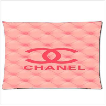 Chanel Pink Logo zippered pillow case size 18'' x 26'' two side