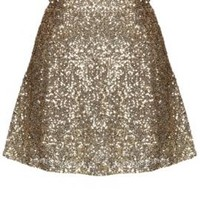 Gleam & Glisten Sequin Flared Skater Skirt in Gold | Sincerely Sweet Boutique