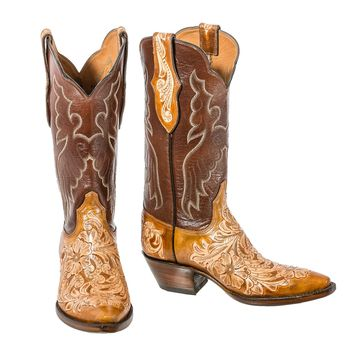 Black Jack~ Hand Tooled Brush off Boot