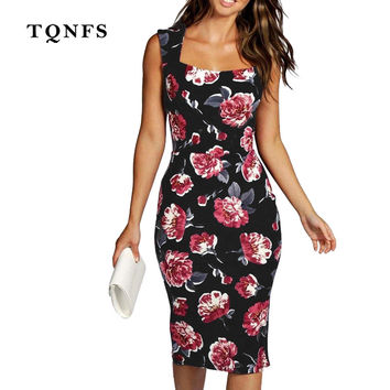 TQNFS 2017 New Summer Style Bodycon Dresses Vintage Ladies Sexy Fitness Floral Print Sleeveless O Neck Backless Women Dress