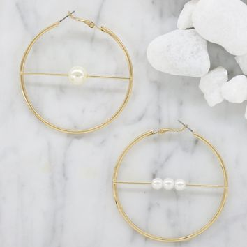 Round About Pearl Hoops in Gold