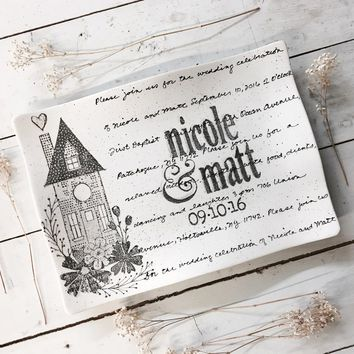 Personalized Home Wedding Invitation Platter ~ Flare