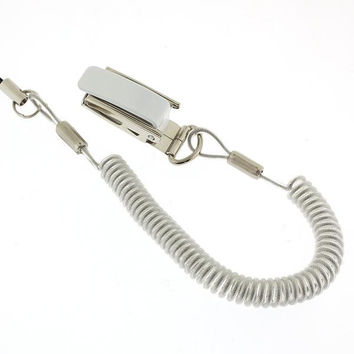 Long Strong Coil and Steel Clip Cell Phone Strap (Clear)