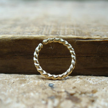 Septum Ring Gold Dotted Twist - Septum Ring, Nose Ring, Nipple Ring