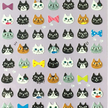 Cat stickers, cat lover, lovely cat sticker,craft supply,scrapbook supply,diary sticker,colorful sticker