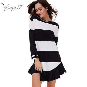 Young17 2017 Spring striped women dress black white sexy backless mermaid club dress casual fashion loose long sleeve dress mini