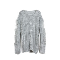 Grey Wool Distressed Sweater