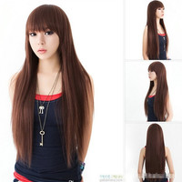 New Korean Style Fashion Womens Lifelike Neat Bang Wig Long Fluffy Straight Hair Costume Ball Cosplay Wig 3 Colors