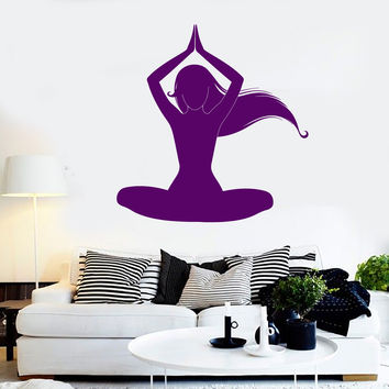 Vinyl Wall Decal Silhouette Meditation Woman Yoga Room Stickers (ig4115)