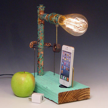 iPhone, iPod dock AND table lamp. iPhone 3, 4, 5. Recycled wood. 3 way pull chain. Steam punk. Industrial. (521)