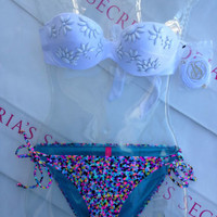 New Sexy Victoria's Secret Embellished Bandeau Bikini Set Mix and Match 34B XS