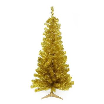 """4' x 29"""" Pre-Lit Slim Gold Artificial Tinsel Christmas Tree- Clear Lights"""