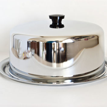 Vintage Everedy Co. Chrome Cake Keeper Holder Storage Container, 1960s Made in USA, Frederick MD